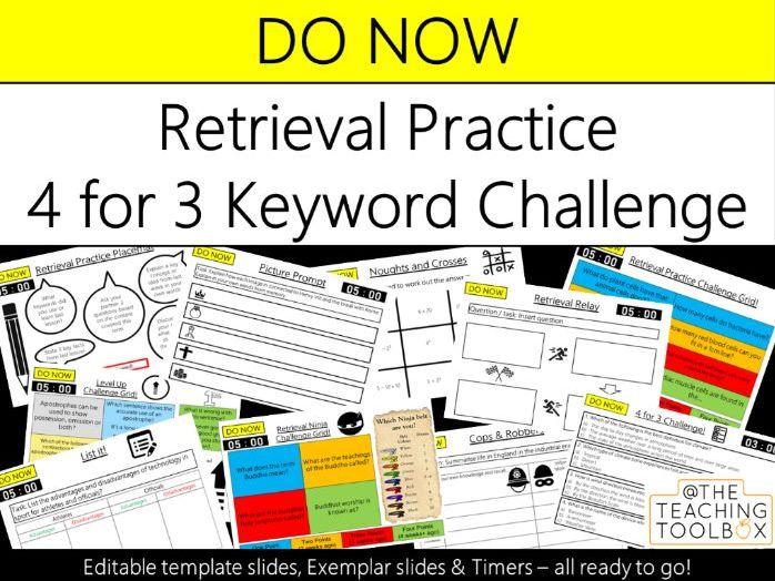 Do Now Retrieval Practice - 4 for 3 Keyword Challenge