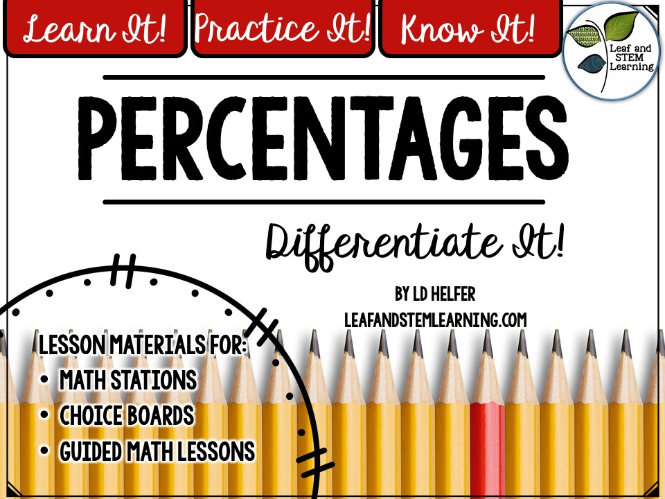 Percentages Differentiated Math Stations