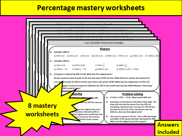 Percentages - mastery worksheets