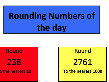 Rounding 10,100,1000 starter activity (Recalculating)