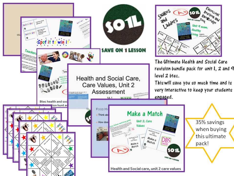 The Ultimate Health and Social Care revision bundle for unit 1, 2 and 9 level 2 btec