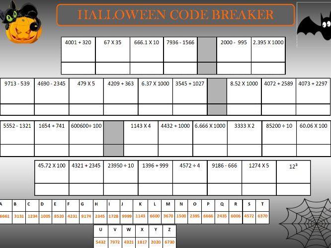 Halloween maths code breaker and maze