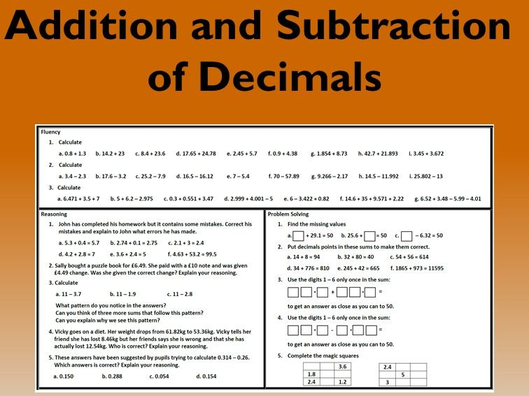 Addition and Subtraction of Decimals Problem Solving Mastery Worksheet