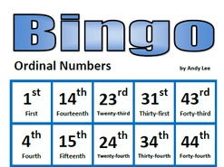 Ordinal Numbers Bingo