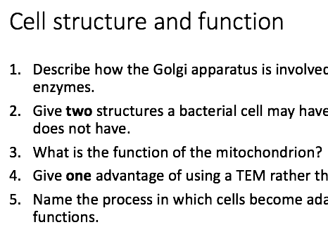 A Level Biology year one exam question quiz