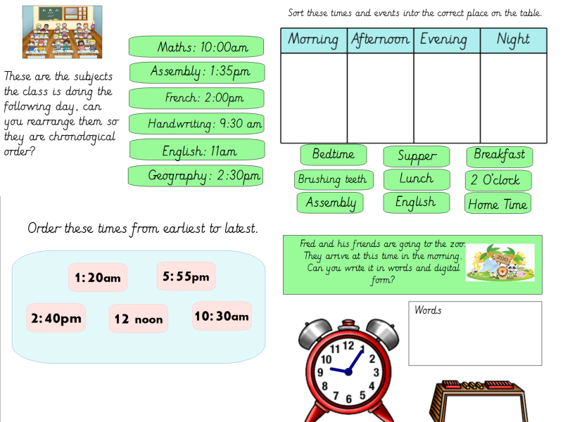 Year 3 Analogue to Digital AM / PM (A Day at the Zoo context)