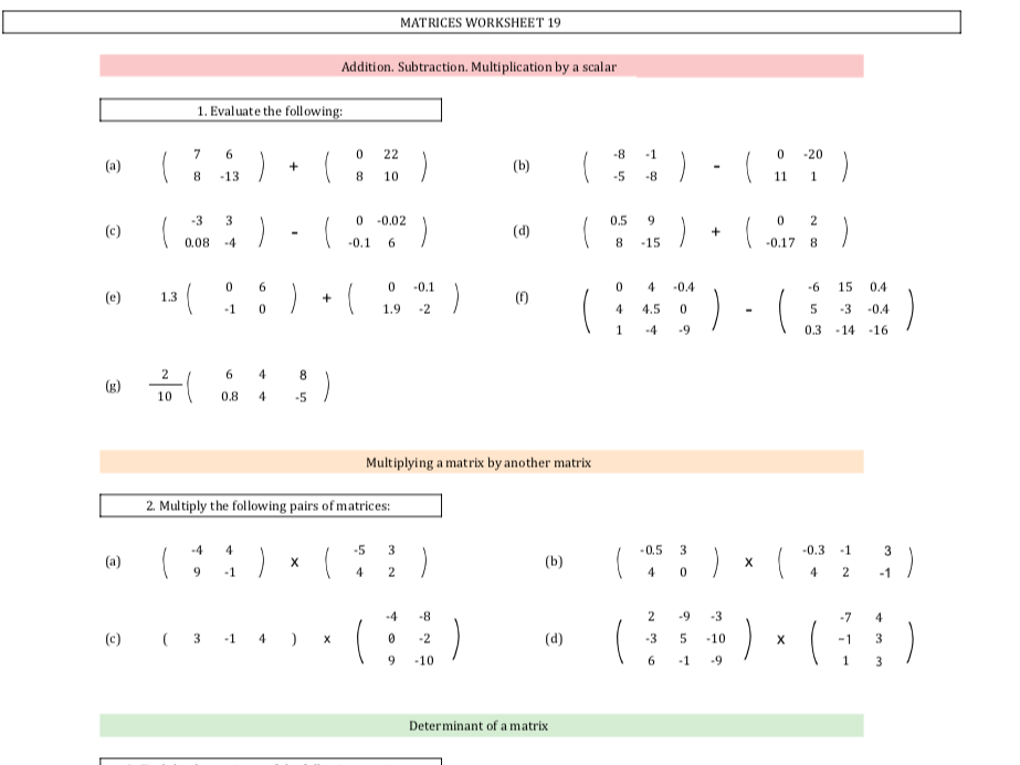 Matrices - 30 Worksheets with different values + Answers IGCSE