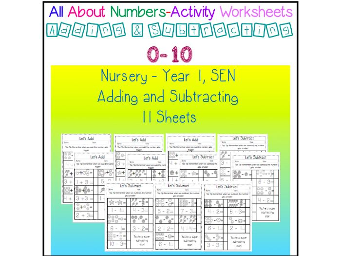 All About Numbers - Addition and Subraction sheets