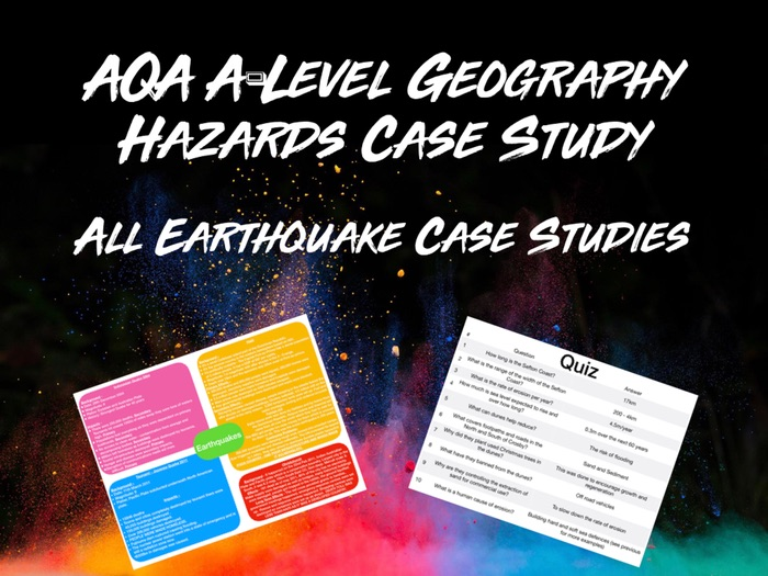 AQA A-Level Geography Hazards All Earthquake Case Studies with Quiz