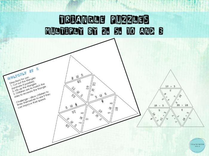 Multiplication Maths Triangle Puzzles (2,5,10 and 3)