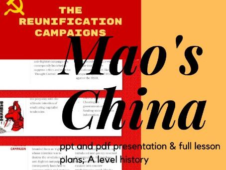 Maos China: Reunification, Three antis, Five antis, and Hundred flowers campaign presentation/notes