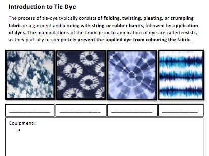 Textile Techniques - Tie Dye Lesson