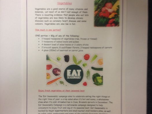 Vegetables GCSE Food Preparation and Nutrition