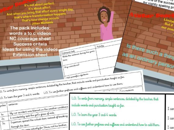 Year 3 and 4 spellings activity video pack(pack 1 of 5)