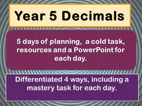 Year 5 Decimals  FULL WEEK OF PLANNING
