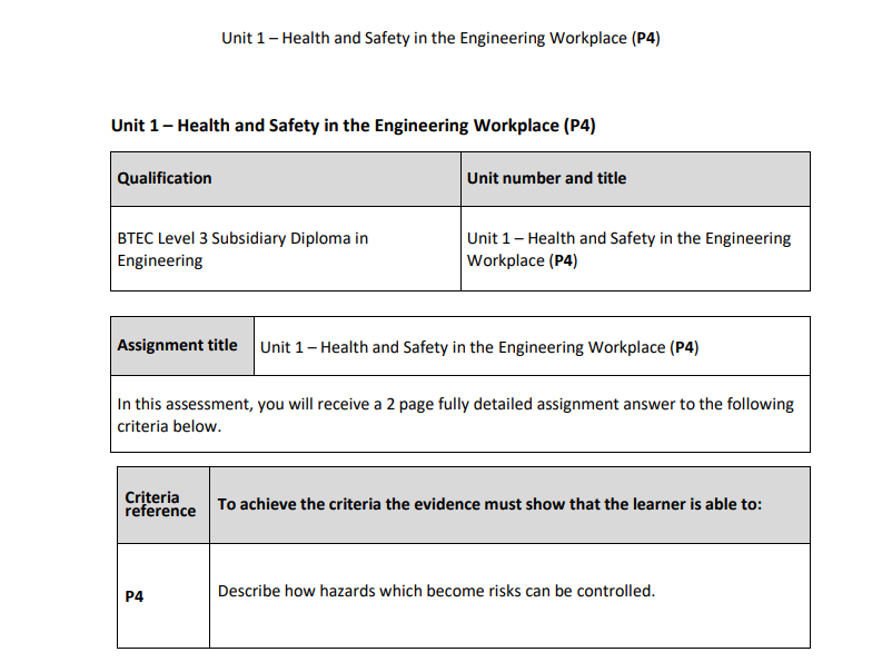 BTEC Level 3 Engineering: Unit 1 (P4) – Health and Safety in the Engineering Workplace