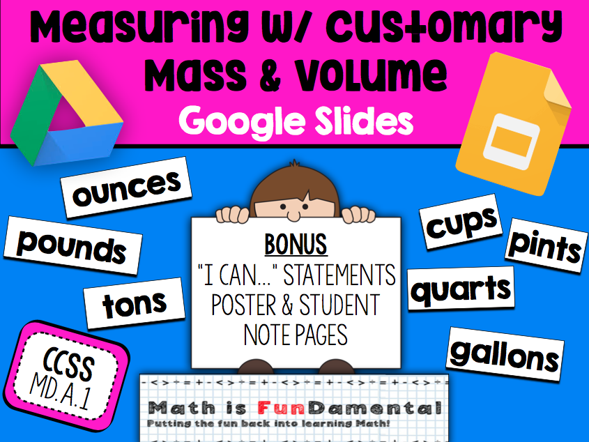 {FREEBIE} Measuring w/ Customary Mass & Volume Google Slides