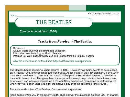 Edexcel Music A Level (2016-) The Beatles
