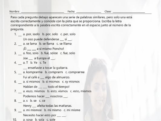 Reflexive and Reciprocal Pronouns Spelling Challenge Spanish Worksheet