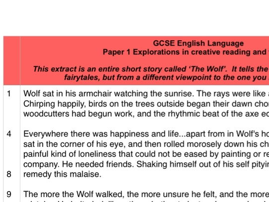'Wolf' Mock Language Paper 1