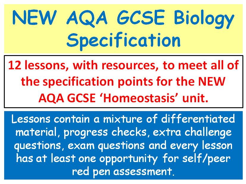 NEW AQA GCSE Biology - 'Homeostasis' lessons