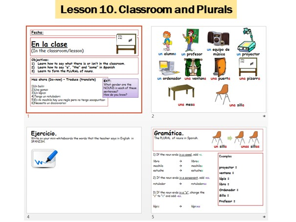 Lesson 10 Spanish classroom objects and plurals