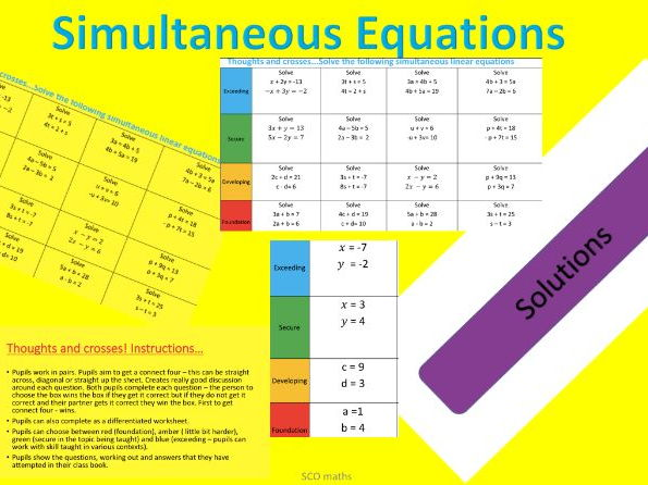 Simultaneous Equations - Grade 4 to 5 Thoughts and Crosses