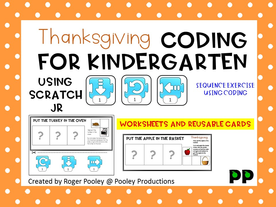 Thanksgiving Coding for Kindergarten, teacher notes, answers, 12pgs