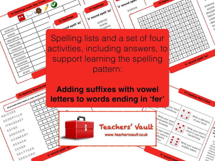 Y5 Spelling Activities Pack Adding Suffiwith Vowel Letters To Words Ending Fer By Helenrachelcrossley Teaching Resources Tes