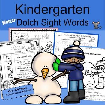 Kindergarten Sight Words WINTER Set