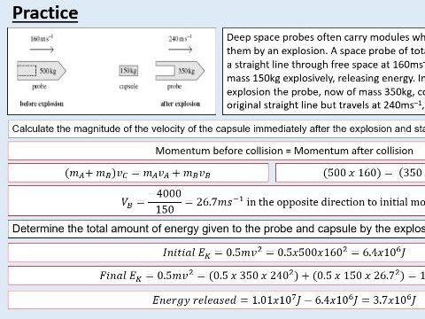 A level Physics (9.5) Explosions (Force and momentum)
