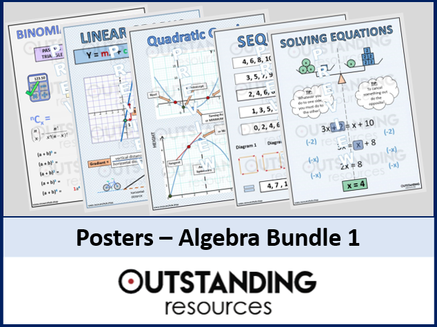 Maths Posters - Linear & Quadratic Graphs, Sequences, Solving Equations, Binomial Dist. (5 Posters)