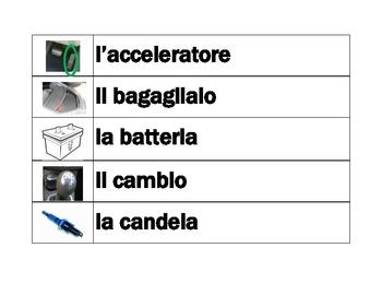 Car parts in Italian word wall