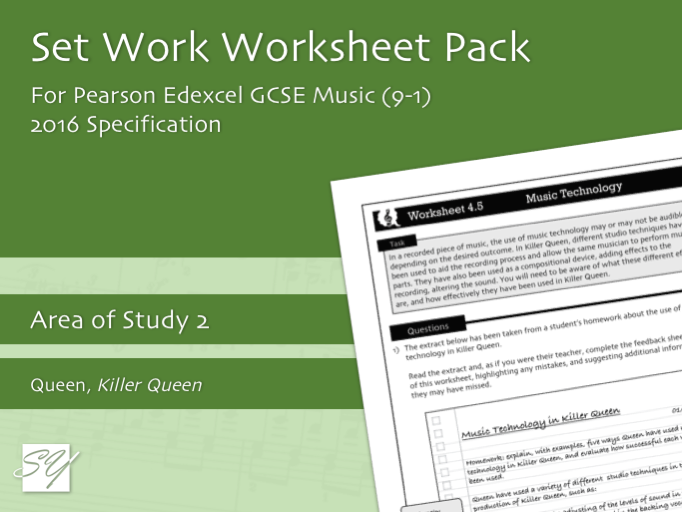 Worksheet Pack for Pearson Edexcel GCSE Music (2016 Specification) - Area of Study 2, Set Work 4