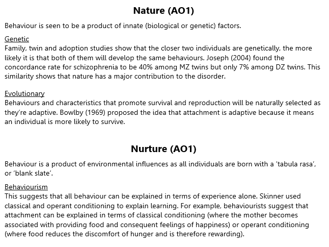 Nature and Nurture Revision (A2 Psychology)