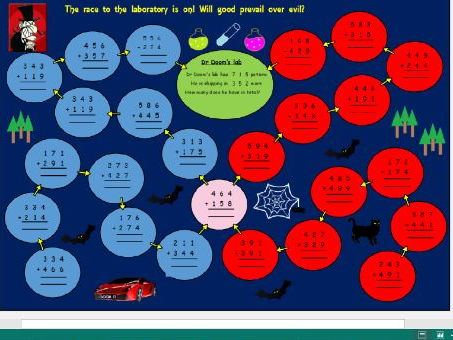 Year 3 and Lower KS2 column addition game / activity featuring Dr Doom! (Editable and re-usable!)