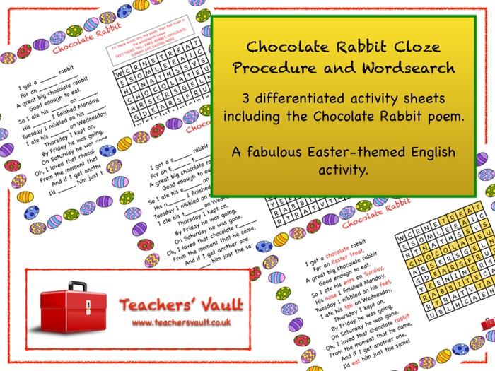 Chocolate Rabbit Cloze Procedure and Wordsearch