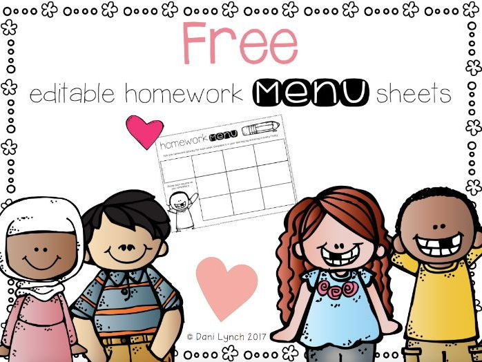 Editable homework menu sheets