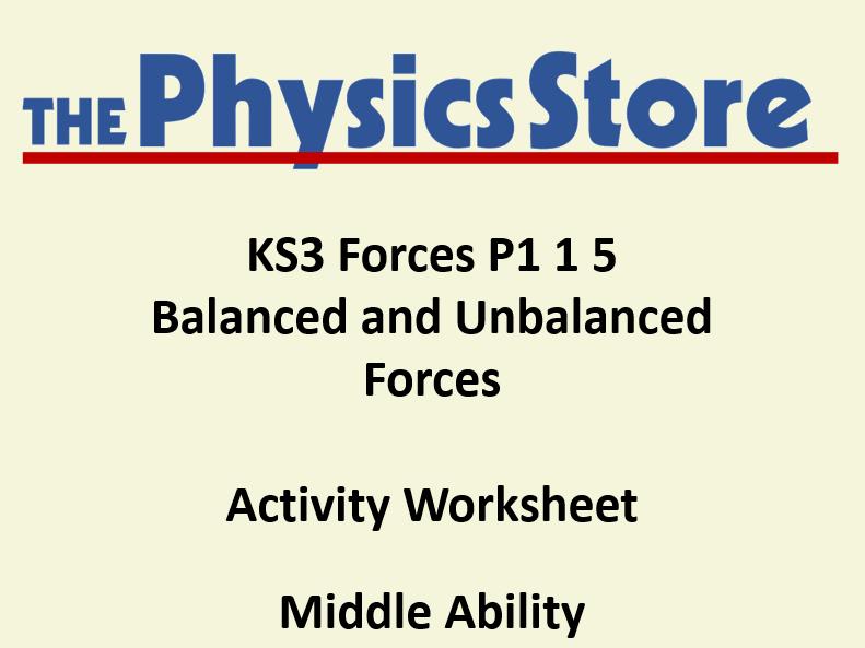KS3 Physics P1 1 5 Balanced and Unbalanced Forces Activity Worksheet Middle Ability