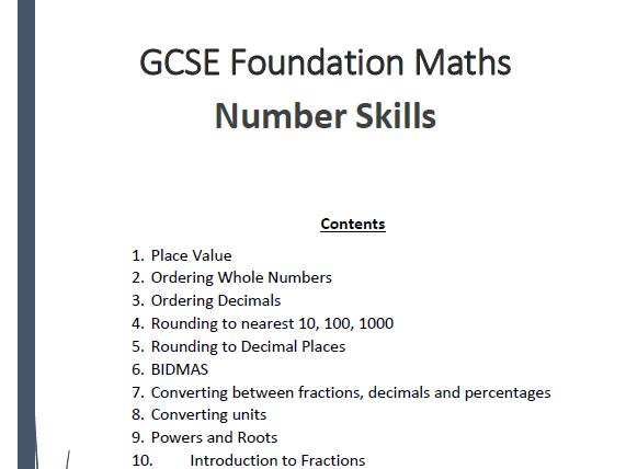 GCSE Foundation Maths Number Skills