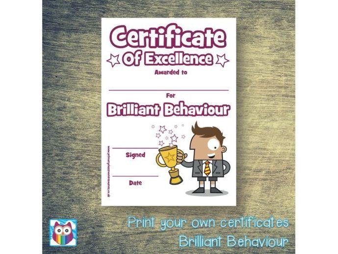 Print Your Own Brilliant Behaviour Certificate