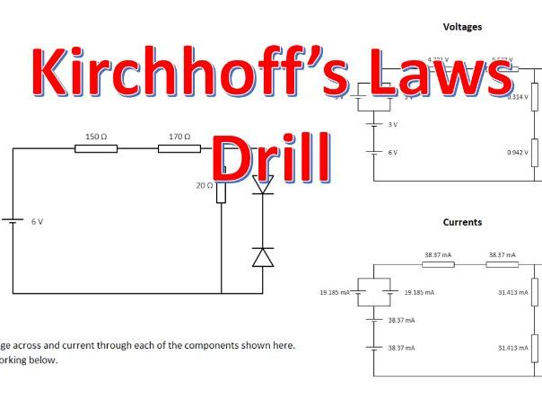 Physics GCSE and A Level Kirchhoff's Laws Drill Question Generator for Circuit Rules