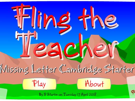 Starter or Plenary Game involving the Spelling of Cambridge English Starter Names.
