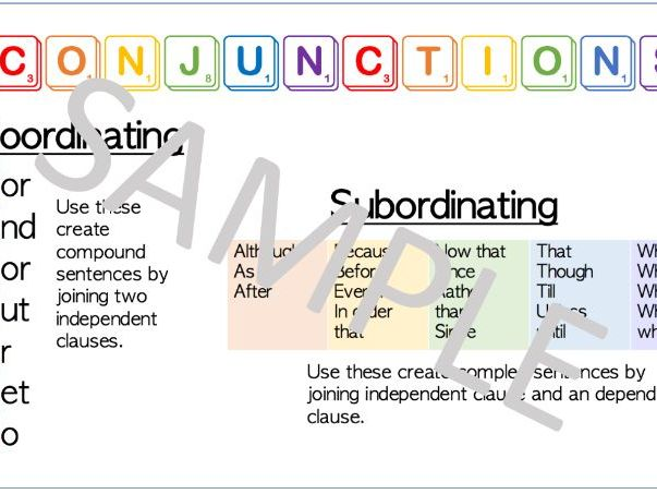 Conjunctions Word Mat- Bright and Colourful!