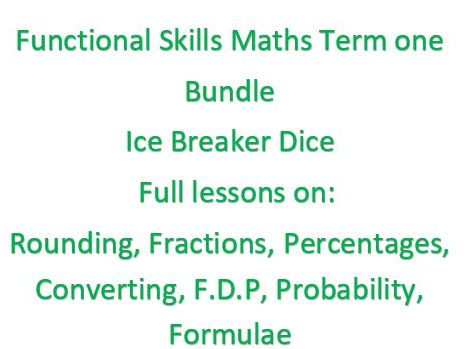 Functional skills maths number lessons.Term one. Place value, language, Fractions, percentages, converting f.d.p, rounding and formulae.