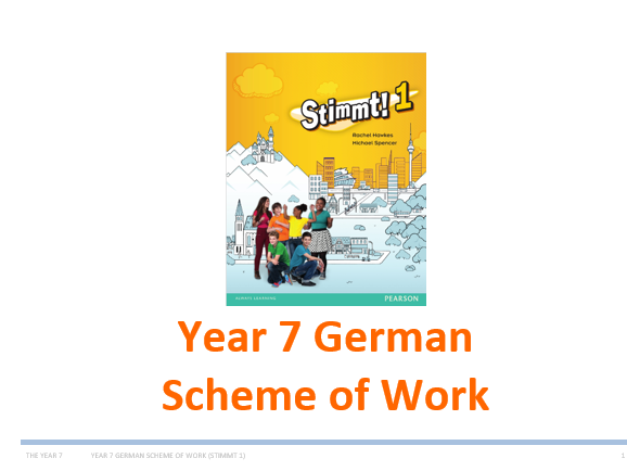 Year 7 German Scheme of Work (Whole year and very detailed - based on Stimmt 1)