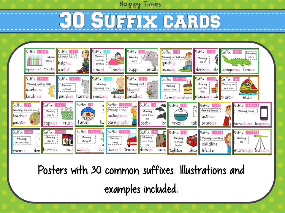 30 common suffixes poster cards  english  spellings  spag