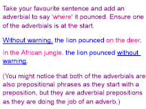 Adverbials and fronted adverbials