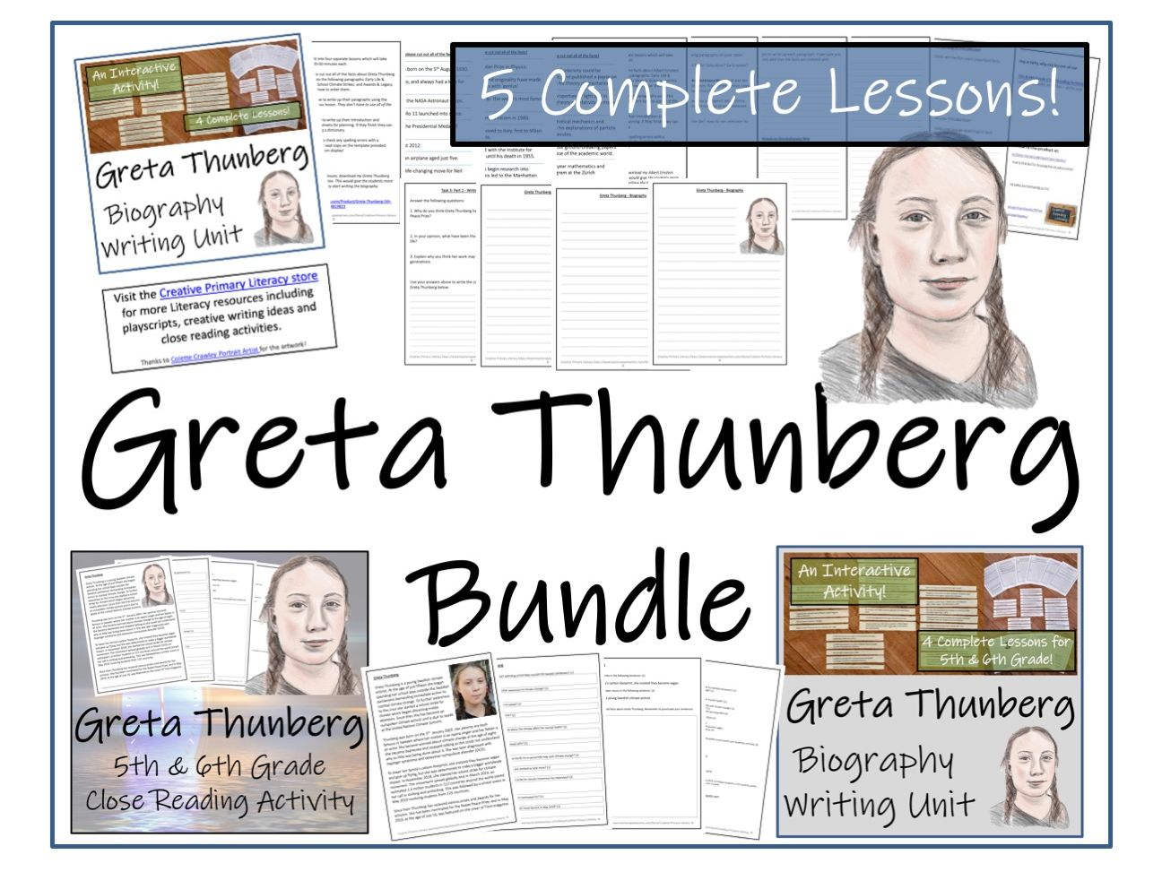 UKS2 Literacy - Greta Thunberg Reading Comprehension & Biography Bundle