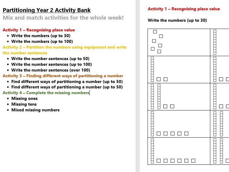 Partitioning Year 2 Activity Bank (Differentiated)